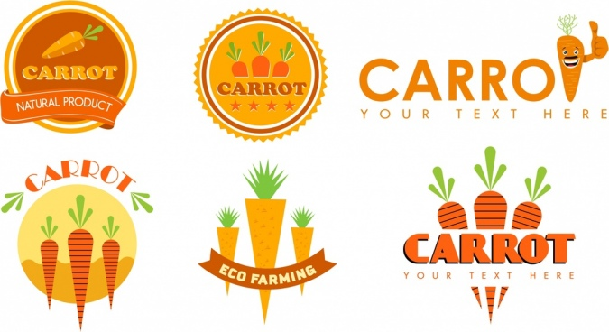 carrot identity sets logotype seal icons isolation