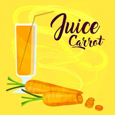 carrot juice advertisement yellow retro design