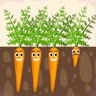 carrot plantation background funny stylized icons