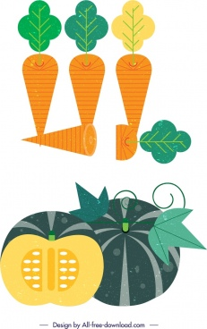 carrot pumpkin vegetables icons colored retro sliced design
