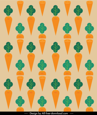 carrots pattern template colored retro flat decor