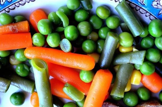 carrots peas beans