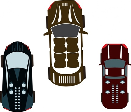 cars design sets top view and silhouettes style