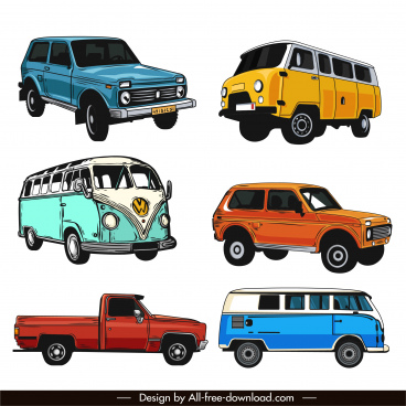 cars icons colored classic design