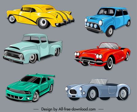 cars icons colorful design 3d sketch