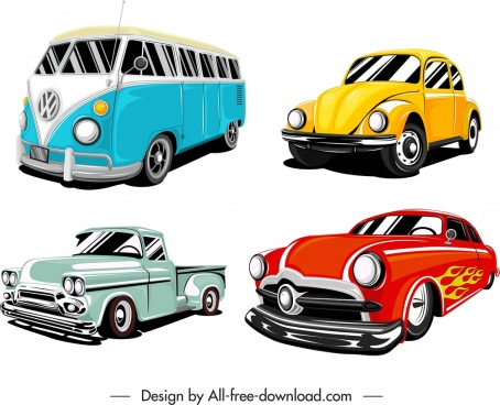 cars icons templates colored 3d sketch