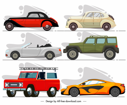 cars models icons colored modern classic sketch