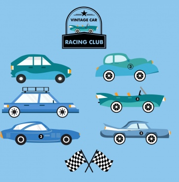 cars race logo design elements colored flat design