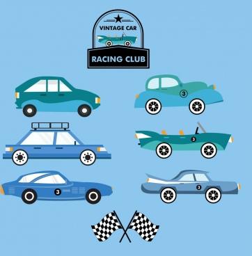 cars race logo design elements colored flat design
