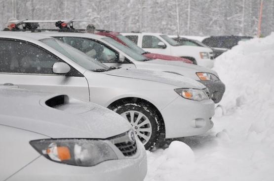cars snow winter