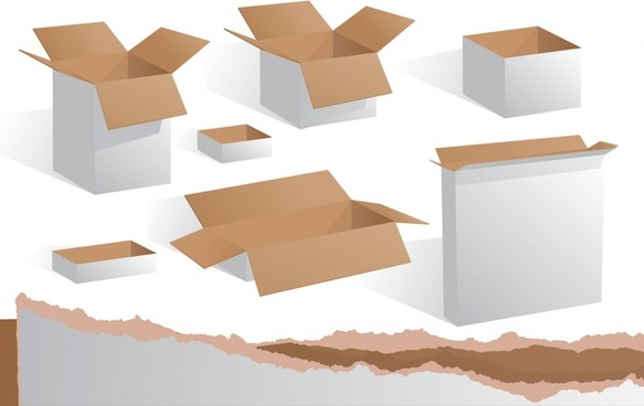carton box icons blank colored 3d sketch