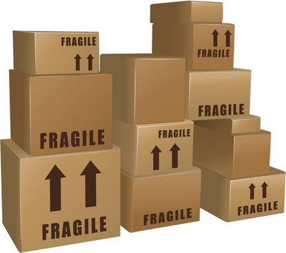 handling banner carton boxes icons modern 3d design