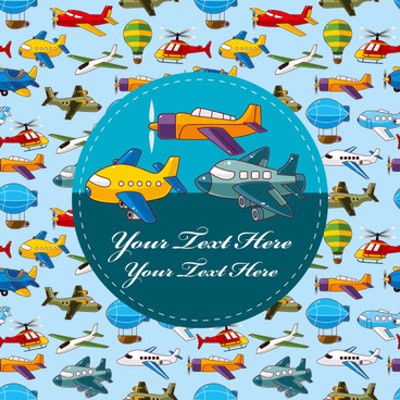cartoon aircraft helicopter and airship free vector