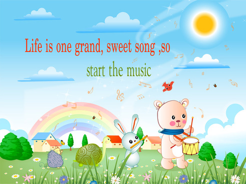 cartoon and text background with cute illustration