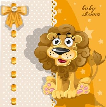 cartoon animal card 02 vector