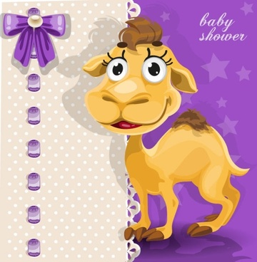cartoon animal card 04 vector