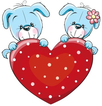 cartoon animal with heart romantic cards vector