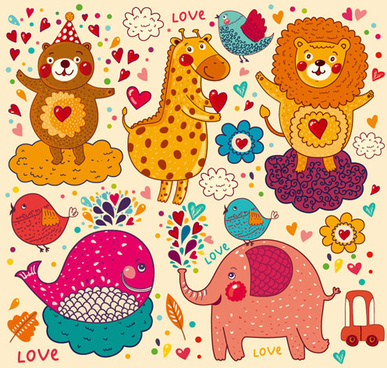 cartoon animal with love elements vector set