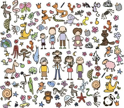 cartoon animal with people hand drawing vector