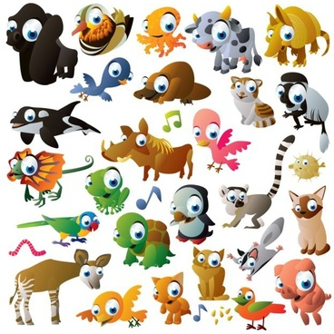 animals icons cute colored cartoon characters