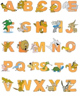 cartoon animals letter design 01 vector