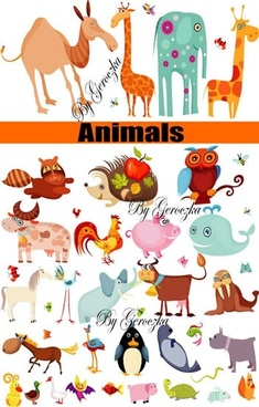 animals icons collection colorful flat sketch