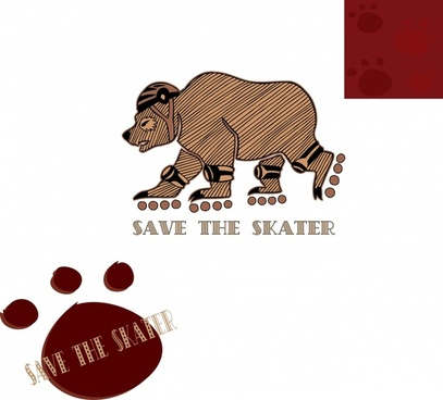 animal save banner bear skater icons funny stylization