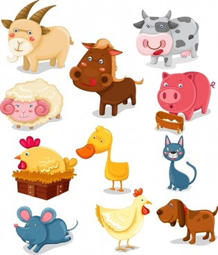farm animals icons colored cartoon sketch