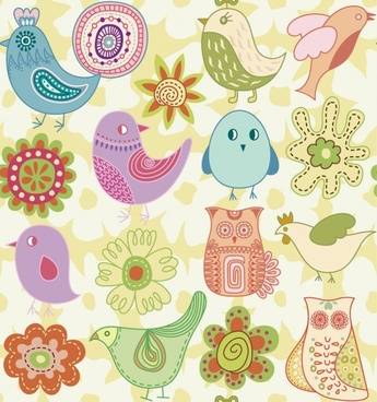 nature design elements bird flower icons colored classical