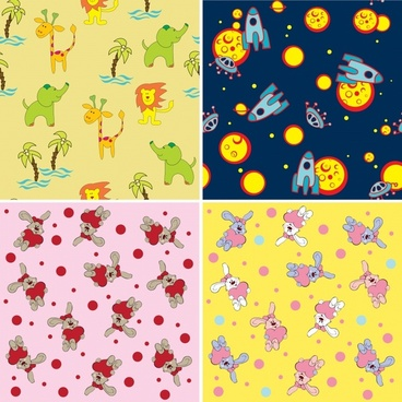 decorative pattern templates cute colorful animals space themes
