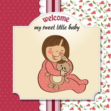 cartoon baby card 01 vector