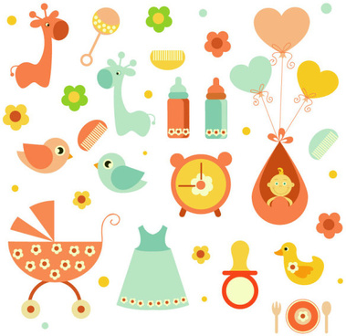 cartoon baby elements vector set
