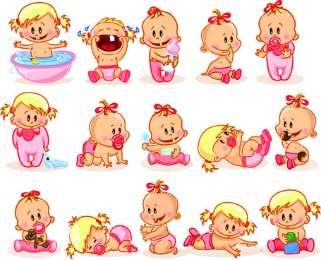 cartoon baby funny vector