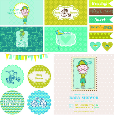 cartoon baby shower cards design vector