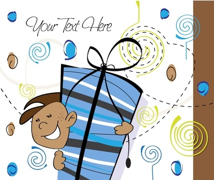 cartoon background vector illustration style gift packaging 4