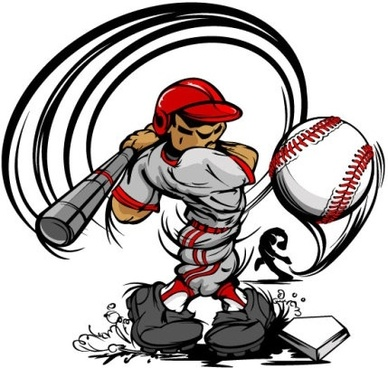 cartoon baseball figures 04 vector