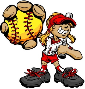 cartoon baseball figures 05 vector