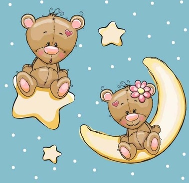 cartoon bear with stars and moon card vector