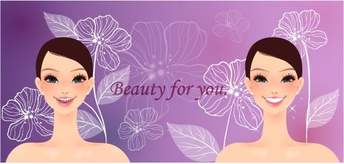 cartoon beauty vector background 01