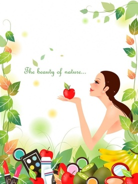 cartoon beauty vector background 02