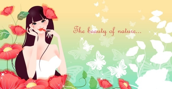 cartoon beauty vector background 03