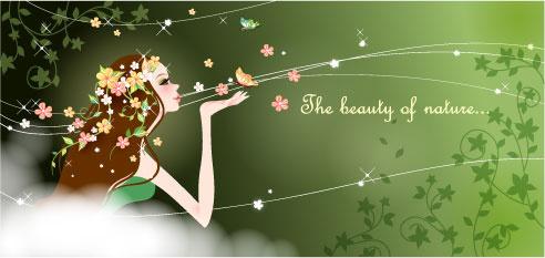 cartoon beauty vector background