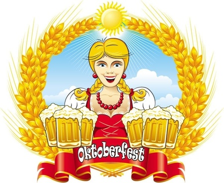 cartoon beer girl 02 vector
