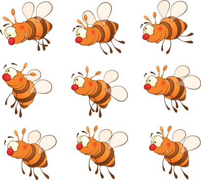 cartoon bees design vector graphics