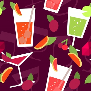 fruits juices background colorful flat classic sketch