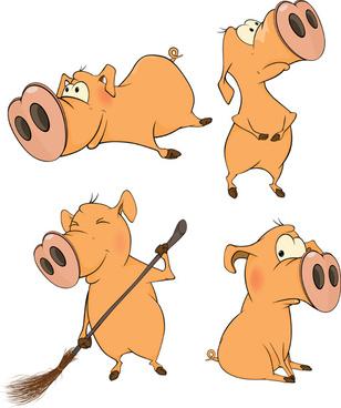 cartoon big nose pig vector design