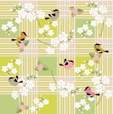 cartoon bird flower floral pattern vector