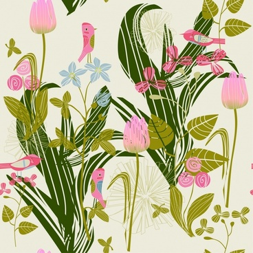 cartoon bird flower floral pattern vector line art