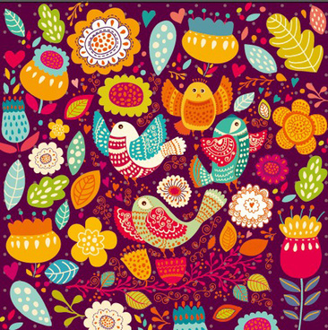 cartoon birds and flowers pattern vector