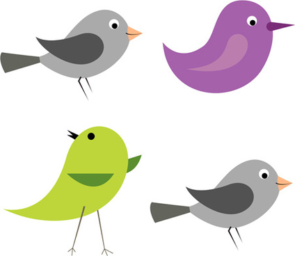 cartoon birds icons vector and photoshop brushes